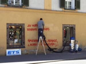Uklanjanje grafita s obojene površine, primjer 2